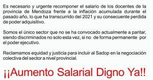 Exigimos Apertura de Paritarias en Mendoza